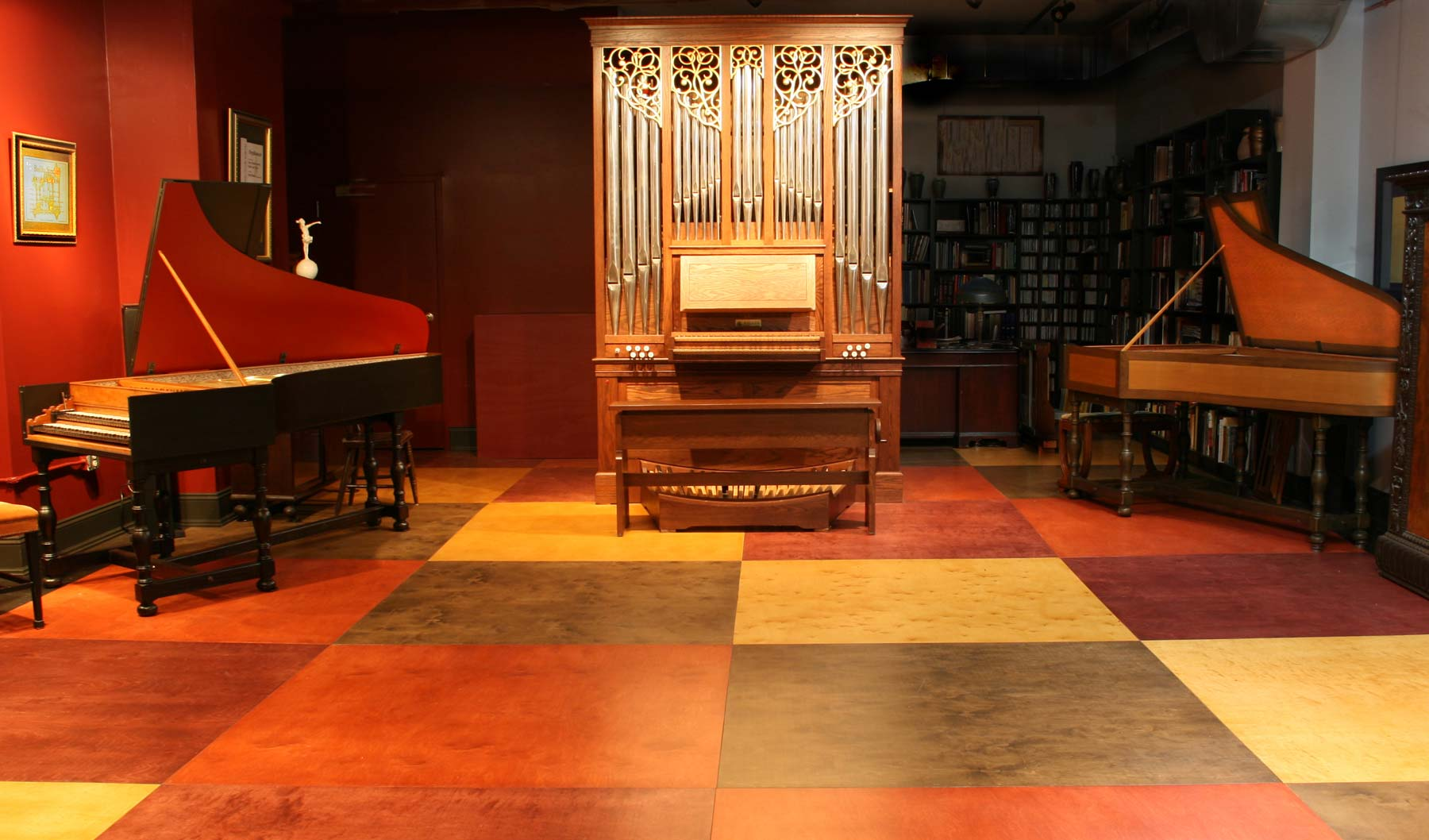 <organ and harpsichord in the music studio>