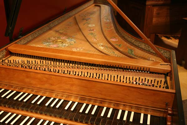 Harpsichord keyboard and soundboard
